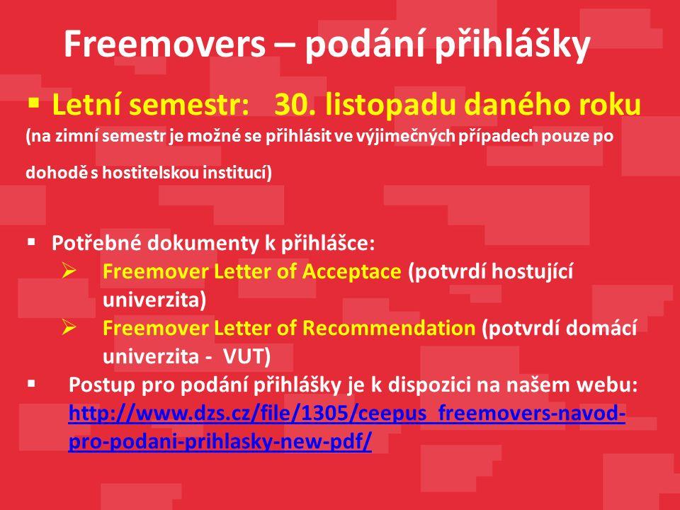 Freemovers – podání přihlášky  Letní semestr: 30.