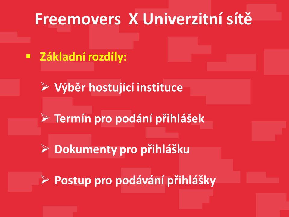 Freemovers X Univerzitní sítě  Základní rozdíly:  Výběr hostující instituce  Termín pro podání přihlášek  Dokumenty pro přihlášku  Postup pro podávání přihlášky