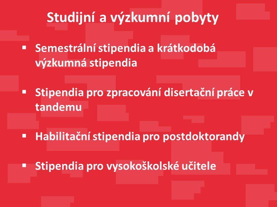  Semestrální stipendia a krátkodobá výzkumná stipendia  Stipendia pro zpracování disertační práce v tandemu  Habilitační stipendia pro postdoktorandy  Stipendia pro vysokoškolské učitele Studijní a výzkumní pobyty