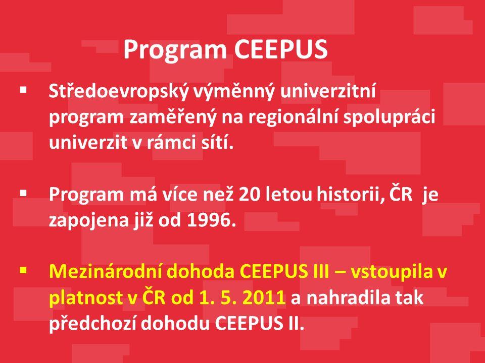 Albánie Bosna a Hercegovina Bulharsko Černá Hora Česká republika Chorvatsko Maďarsko Makedonie Moldavsko Polsko Rakousko Rumunsko Slovensko Slovinsko Srbsko Univerzita Priština a Prizren (Kosovo) Zapojené země do programu CEEPUS