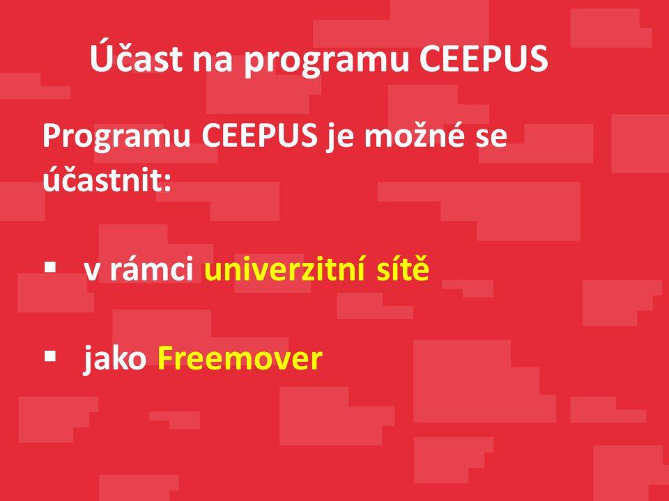 Programu CEEPUS je možné se účastnit:  v rámci univerzitní sítě  jako Freemover Účast na programu CEEPUS