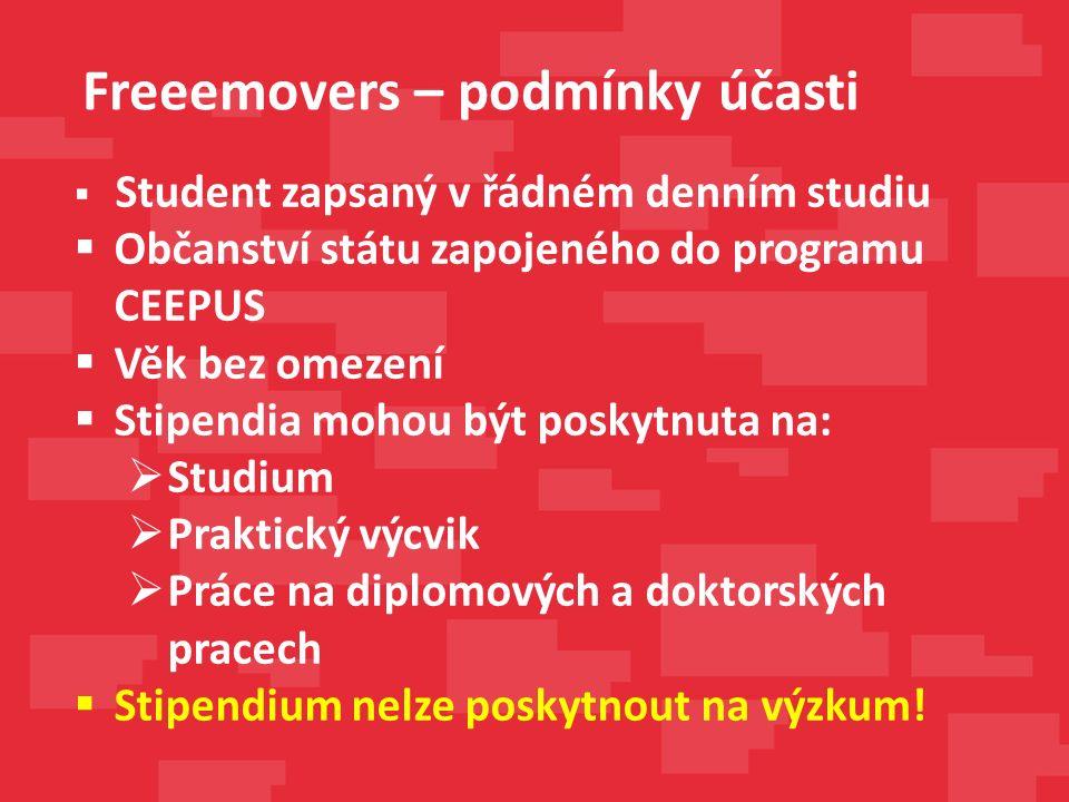  student musí být občanem EU, EHP nebo Švýcarska  student musí být na VVŠ zapsán k řádnému studiu  studenti nesmí mít více jak 35 let (počítáno k 1.