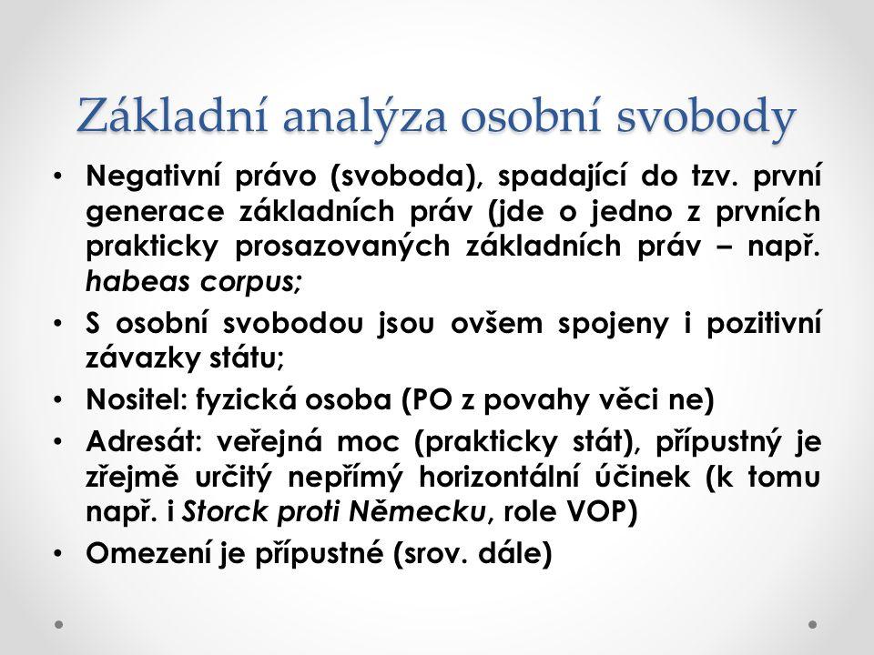 Základní analýza osobní svobody Negativní právo (svoboda), spadající do tzv.