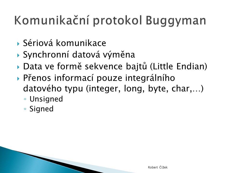  Sériová komunikace  Synchronní datová výměna  Data ve formě sekvence bajtů (Little Endian)  Přenos informací pouze integrálního datového typu (integer, long, byte, char,…) ◦ Unsigned ◦ Signed Robert Čížek