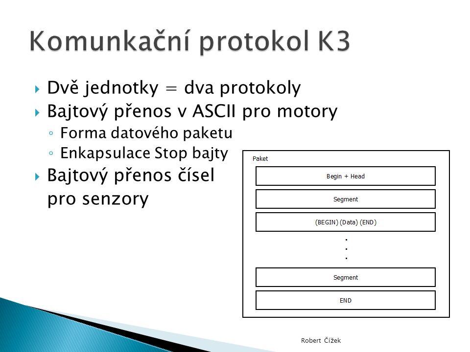  Dvě jednotky = dva protokoly  Bajtový přenos v ASCII pro motory ◦ Forma datového paketu ◦ Enkapsulace Stop bajty  Bajtový přenos čísel pro senzory Robert Čížek