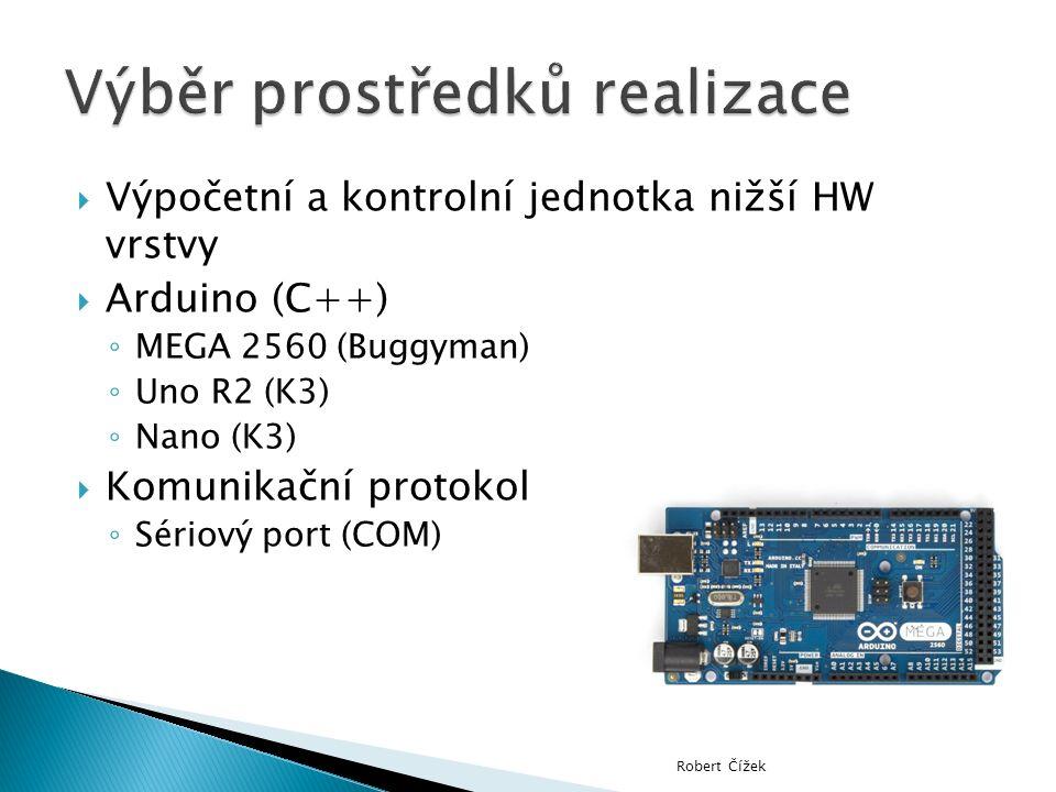  Výpočetní a kontrolní jednotka nižší HW vrstvy  Arduino (C++) ◦ MEGA 2560 (Buggyman) ◦ Uno R2 (K3) ◦ Nano (K3)  Komunikační protokol ◦ Sériový port (COM) Robert Čížek