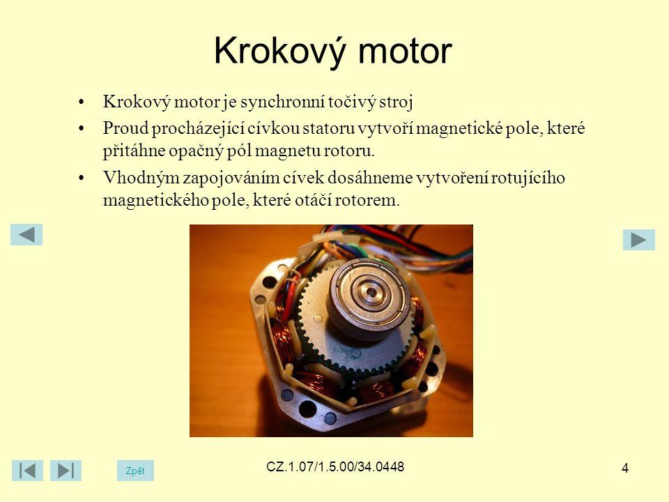 Krokový motor Zpět CZ.1.07/1.5.00/34.0448 4 Krokový motor je synchronní točivý stroj Proud procházející cívkou statoru vytvoří magnetické pole, které přitáhne opačný pól magnetu rotoru.
