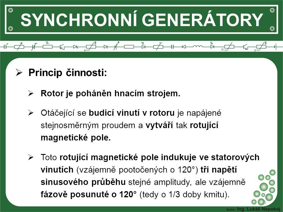 SYNCHRONNÍ GENERÁTORY  Princip činnosti:  Rotor je poháněn hnacím strojem.