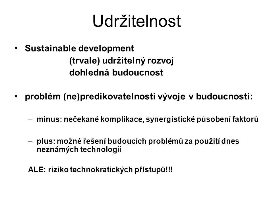 Udržitelnost Sustainable development (trvale) udržitelný rozvoj dohledná budoucnost problém (ne)predikovatelnosti vývoje v budoucnosti: –minus: nečekané komplikace, synergistické působení faktorů –plus: možné řešení budoucích problémů za použití dnes neznámých technologií ALE: riziko technokratických přístupů!!!