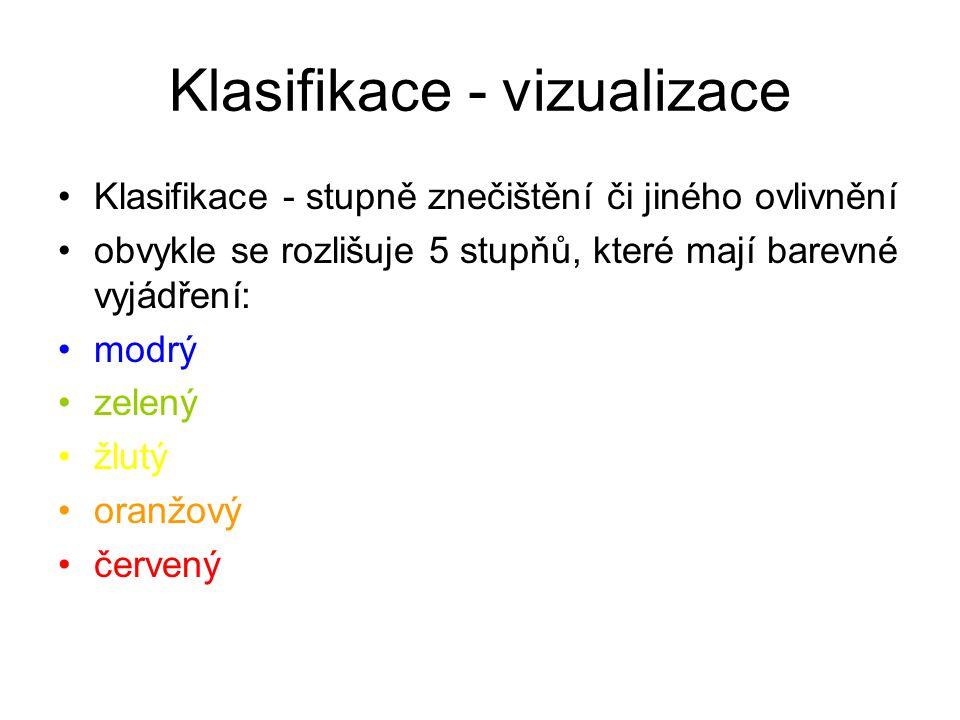 Klasifikace - vizualizace Klasifikace - stupně znečištění či jiného ovlivnění obvykle se rozlišuje 5 stupňů, které mají barevné vyjádření: modrý zelený žlutý oranžový červený