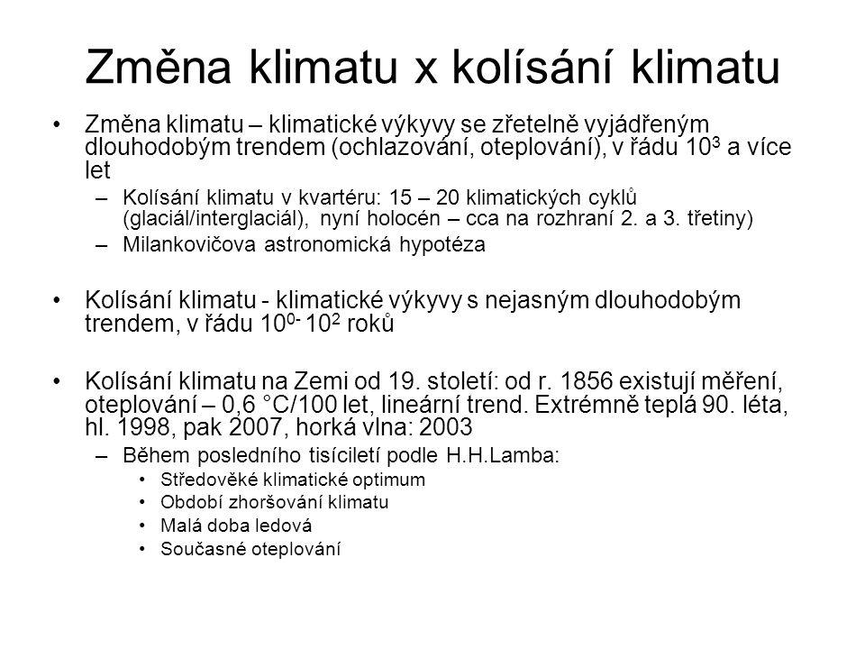 Změna klimatu x kolísání klimatu Změna klimatu – klimatické výkyvy se zřetelně vyjádřeným dlouhodobým trendem (ochlazování, oteplování), v řádu 10 3 a více let –Kolísání klimatu v kvartéru: 15 – 20 klimatických cyklů (glaciál/interglaciál), nyní holocén – cca na rozhraní 2.