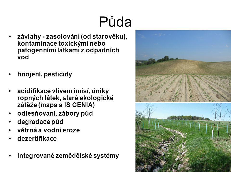 Půda závlahy - zasolování (od starověku), kontaminace toxickými nebo patogenními látkami z odpadních vod hnojení, pesticidy acidifikace vlivem imisí, úniky ropných látek, staré ekologické zátěže (mapa a IS CENIA) odlesňování, zábory půd degradace půd větrná a vodní eroze dezertifikace integrované zemědělské systémy
