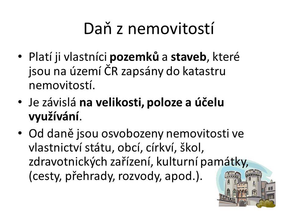 Daň z nemovitostí Platí ji vlastníci pozemků a staveb, které jsou na území ČR zapsány do katastru nemovitostí.