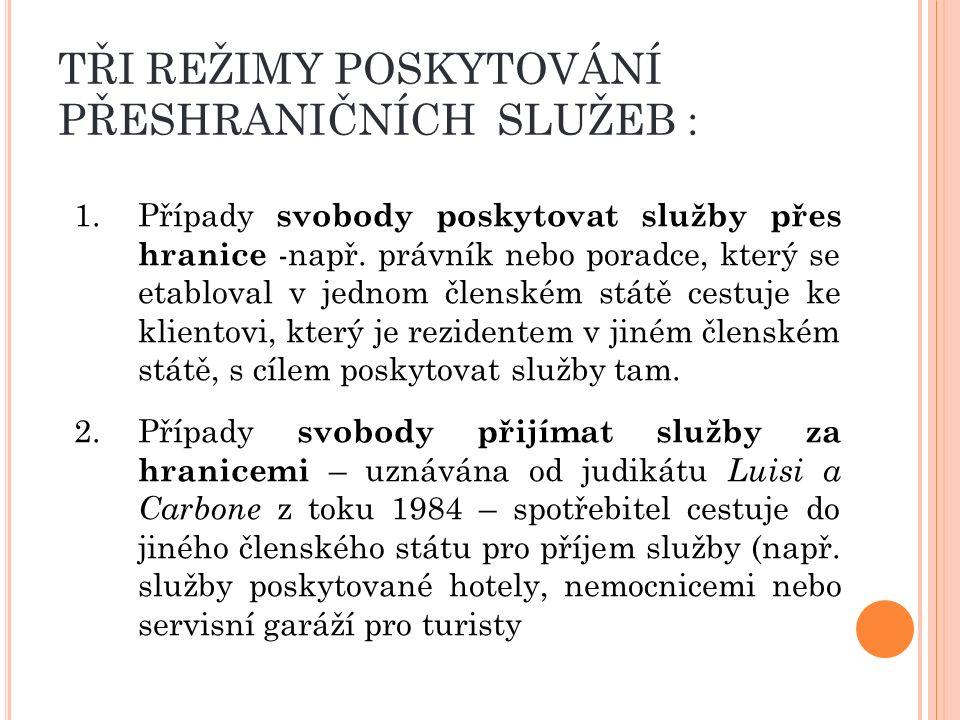 TŘI REŽIMY POSKYTOVÁNÍ PŘESHRANIČNÍCH SLUŽEB : 3.Případ svobody překračování samotných služeb – upravena od přijetí judikátu Sacchi v roce 1974 – je to služba sama, která přechází přes hranice do jiného členského státu.