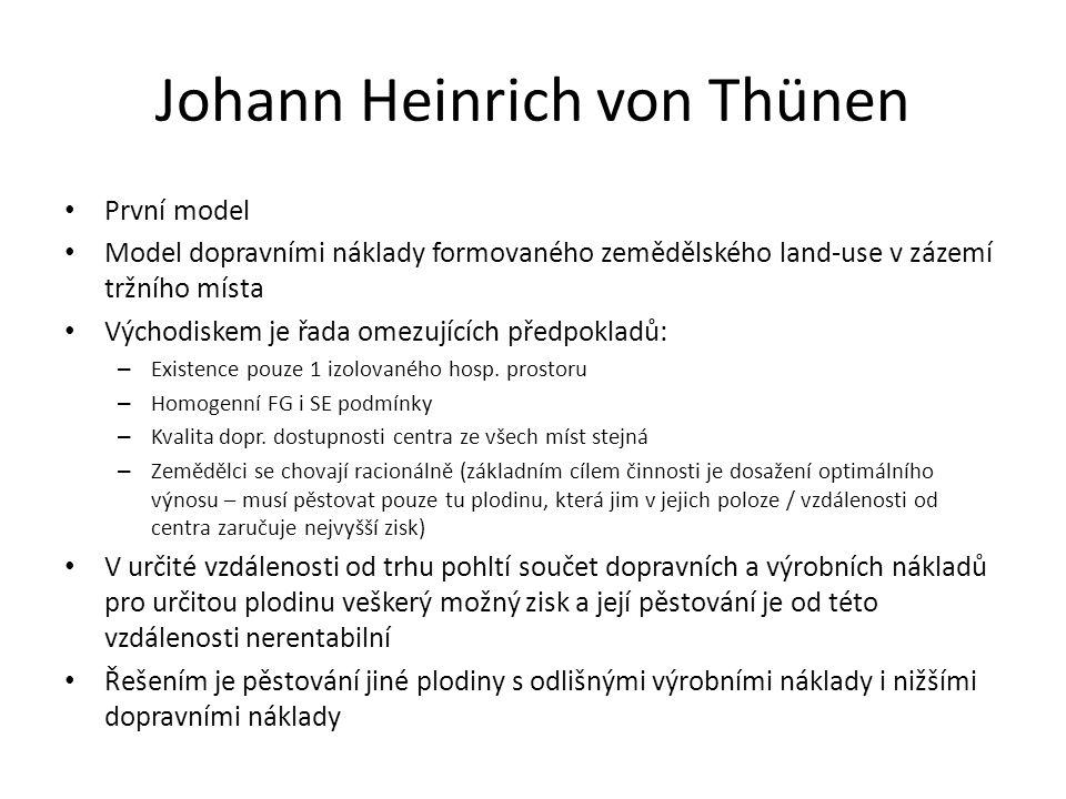 Johann Heinrich von Thünen První model Model dopravními náklady formovaného zemědělského land-use v zázemí tržního místa Východiskem je řada omezujících předpokladů: – Existence pouze 1 izolovaného hosp.
