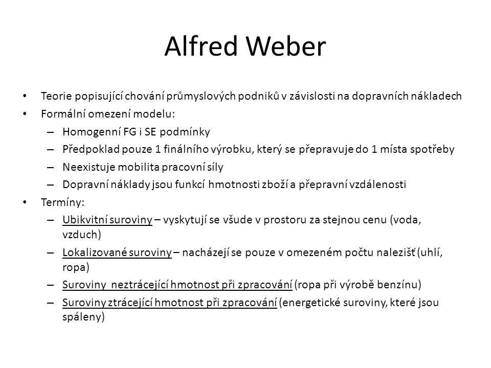 Alfred Weber Teorie popisující chování průmyslových podniků v závislosti na dopravních nákladech Formální omezení modelu: – Homogenní FG i SE podmínky – Předpoklad pouze 1 finálního výrobku, který se přepravuje do 1 místa spotřeby – Neexistuje mobilita pracovní síly – Dopravní náklady jsou funkcí hmotnosti zboží a přepravní vzdálenosti Termíny: – Ubikvitní suroviny – vyskytují se všude v prostoru za stejnou cenu (voda, vzduch) – Lokalizované suroviny – nacházejí se pouze v omezeném počtu nalezišť (uhlí, ropa) – Suroviny neztrácející hmotnost při zpracování (ropa při výrobě benzínu) – Suroviny ztrácející hmotnost při zpracování (energetické suroviny, které jsou spáleny)