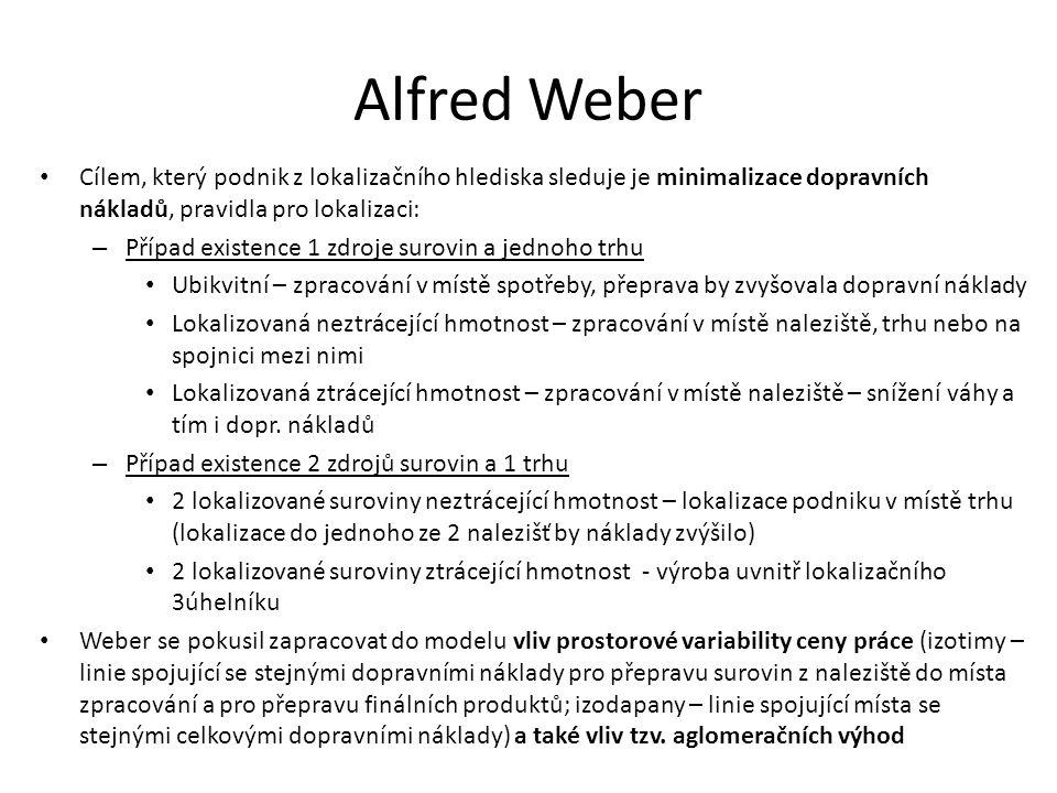 Alfred Weber Cílem, který podnik z lokalizačního hlediska sleduje je minimalizace dopravních nákladů, pravidla pro lokalizaci: – Případ existence 1 zdroje surovin a jednoho trhu Ubikvitní – zpracování v místě spotřeby, přeprava by zvyšovala dopravní náklady Lokalizovaná neztrácející hmotnost – zpracování v místě naleziště, trhu nebo na spojnici mezi nimi Lokalizovaná ztrácející hmotnost – zpracování v místě naleziště – snížení váhy a tím i dopr.