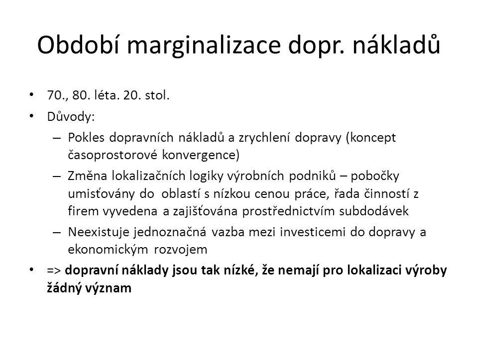 Období marginalizace dopr. nákladů 70., 80. léta.