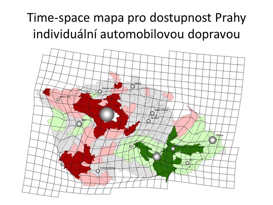 Time-space mapa pro dostupnost Prahy individuální automobilovou dopravou