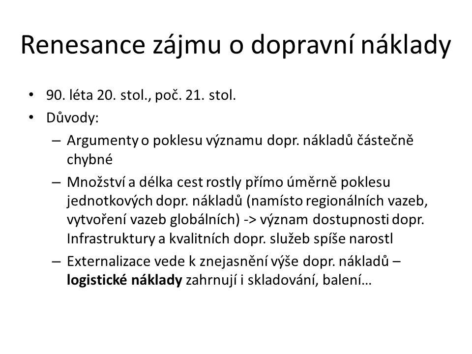 Renesance zájmu o dopravní náklady 90. léta 20. stol., poč.