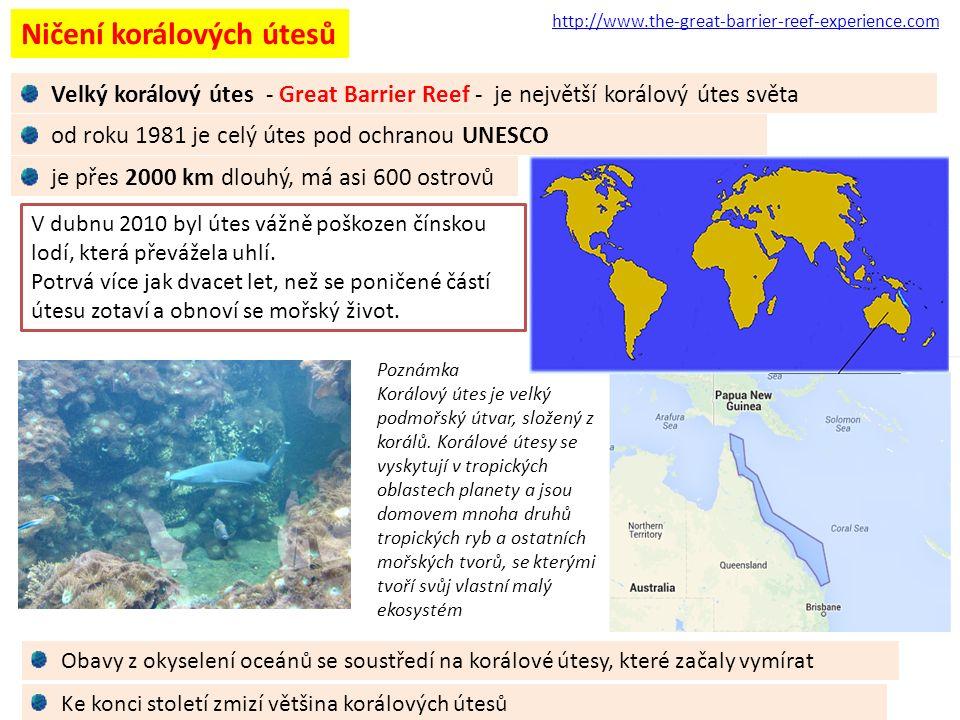 Ničení korálových útesů Poznámka Korálový útes je velký podmořský útvar, složený z korálů.