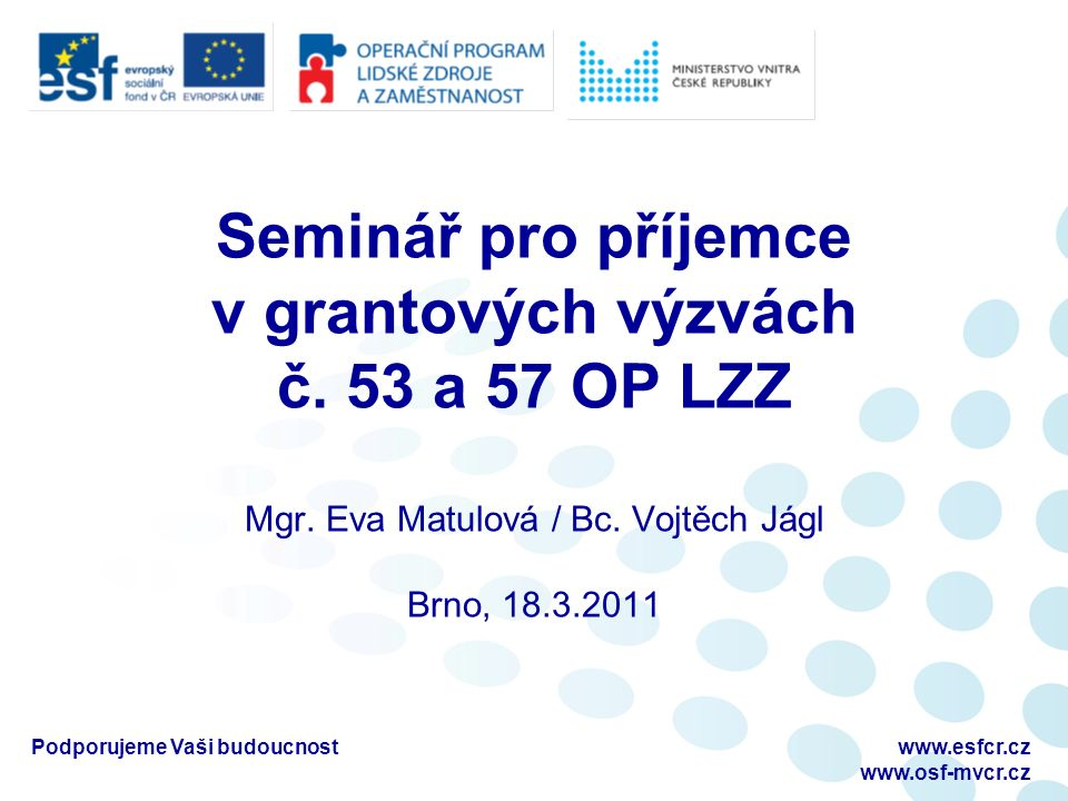 Seminář pro příjemce v grantových výzvách č. 53 a 57 OP LZZ Mgr.