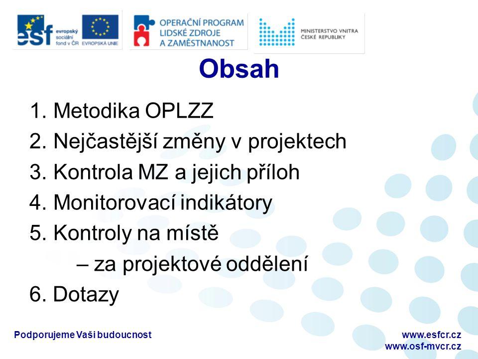 Obsah 1. Metodika OPLZZ 2. Nejčastější změny v projektech 3.