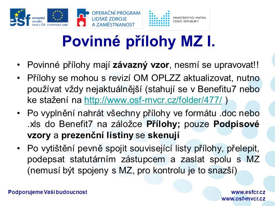 Povinné přílohy MZ I. Povinné přílohy mají závazný vzor, nesmí se upravovat!.