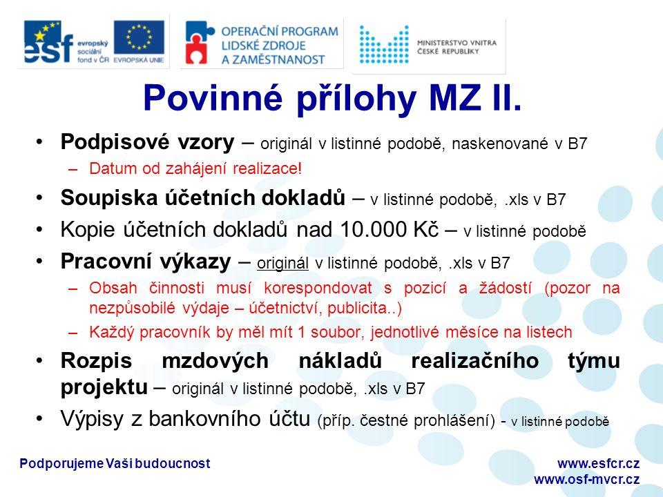 Povinné přílohy MZ II.