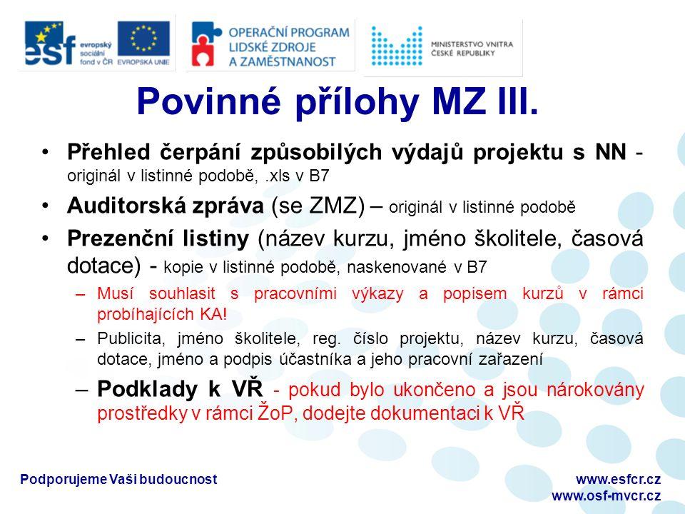 Povinné přílohy MZ III.