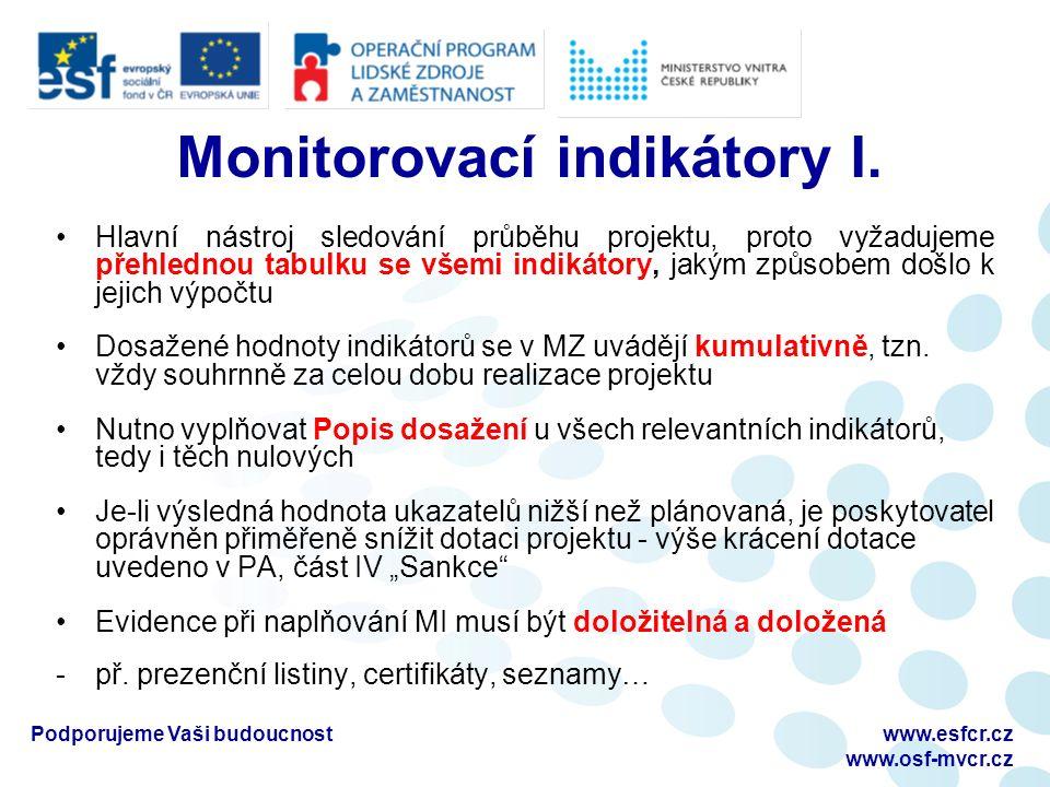 Monitorovací indikátory I.