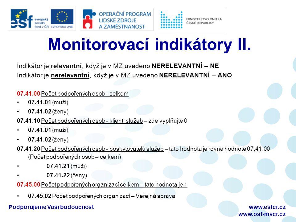 Monitorovací indikátory II.