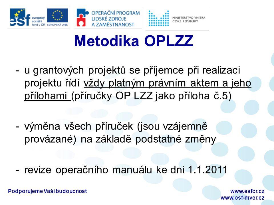 Podporujeme Vaši budoucnostwww.esfcr.cz www.osf-mvcr.cz Metodika OPLZZ -u grantových projektů se příjemce při realizaci projektu řídí vždy platným právním aktem a jeho přílohami (příručky OP LZZ jako příloha č.5) -výměna všech příruček (jsou vzájemně provázané) na základě podstatné změny -revize operačního manuálu ke dni 1.1.2011