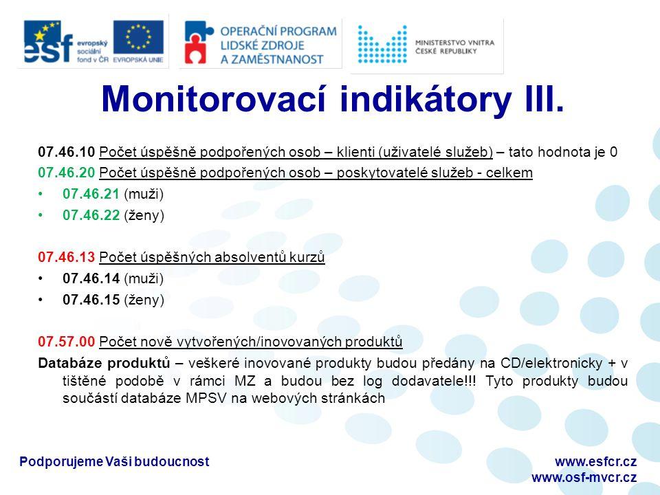 Monitorovací indikátory III.