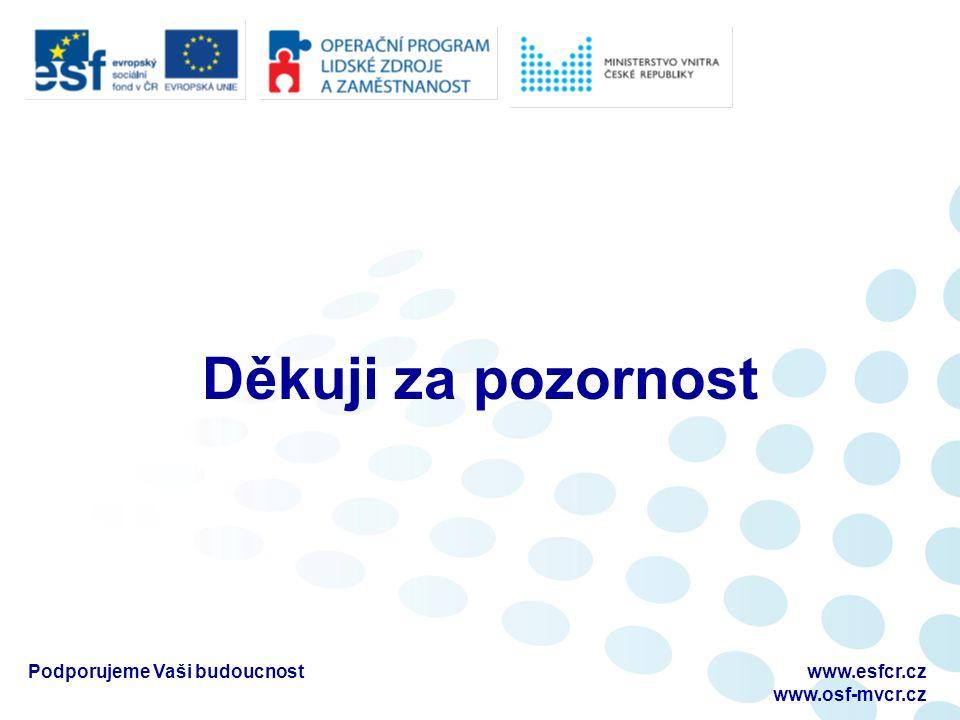 Děkuji za pozornost Podporujeme Vaši budoucnostwww.esfcr.cz www.osf-mvcr.cz