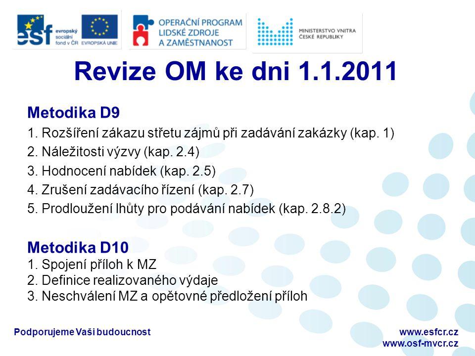 Revize OM ke dni 1.1.2011 Metodika D9 1. Rozšíření zákazu střetu zájmů při zadávání zakázky (kap.