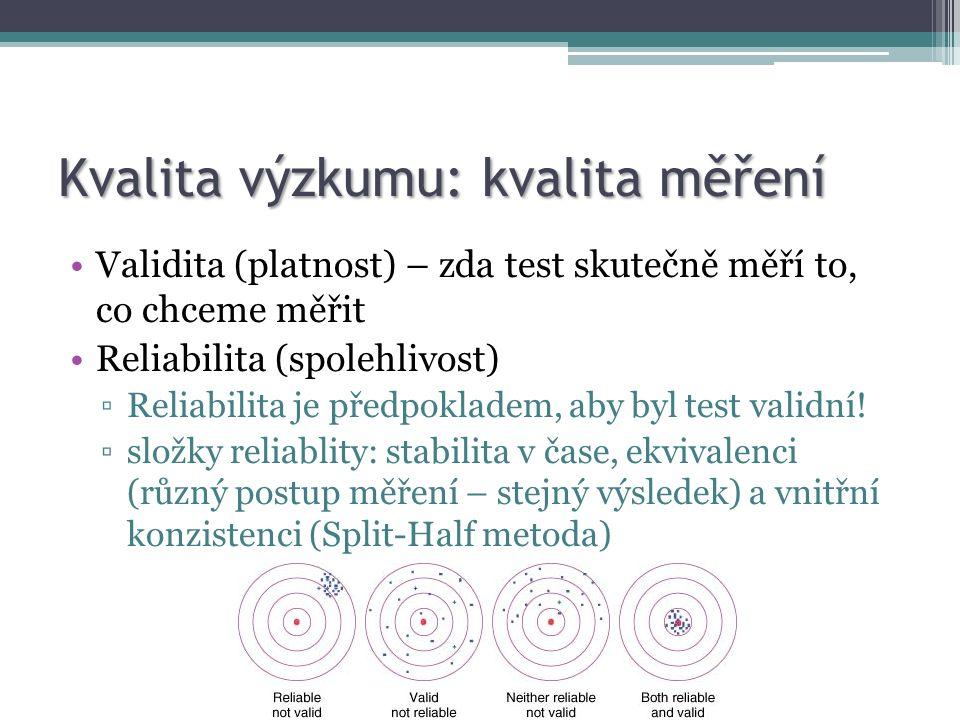 Kvalita výzkumu: kvalita měření Validita (platnost) – zda test skutečně měří to, co chceme měřit Reliabilita (spolehlivost) ▫Reliabilita je předpokladem, aby byl test validní.