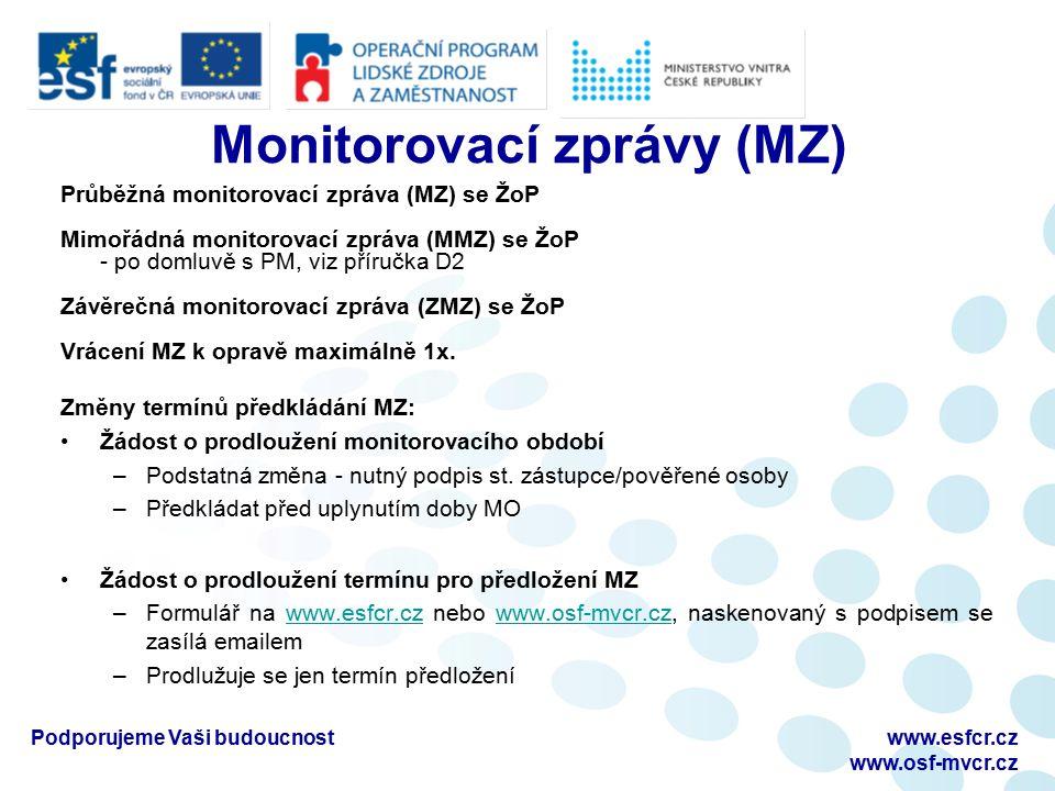 Monitorovací zprávy (MZ) Průběžná monitorovací zpráva (MZ) se ŽoP Mimořádná monitorovací zpráva (MMZ) se ŽoP - po domluvě s PM, viz příručka D2 Závěrečná monitorovací zpráva (ZMZ) se ŽoP Vrácení MZ k opravě maximálně 1x.