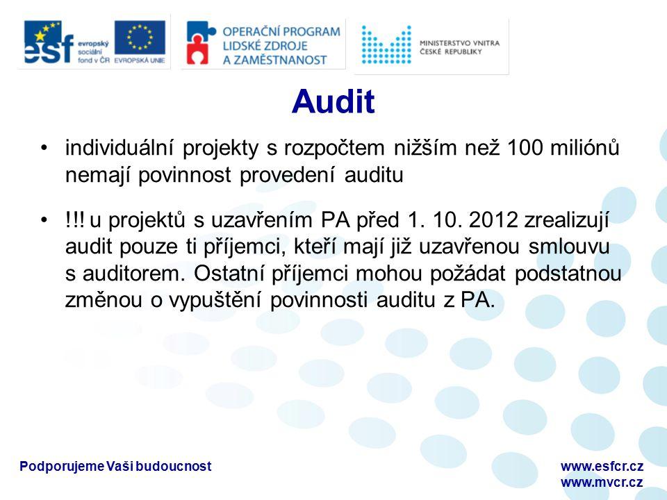 Audit individuální projekty s rozpočtem nižším než 100 miliónů nemají povinnost provedení auditu !!.