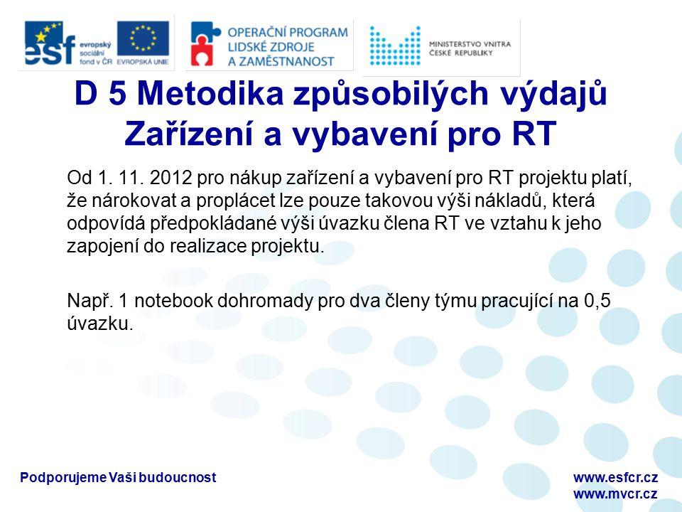 D 5 Metodika způsobilých výdajů Zařízení a vybavení pro RT Od 1.