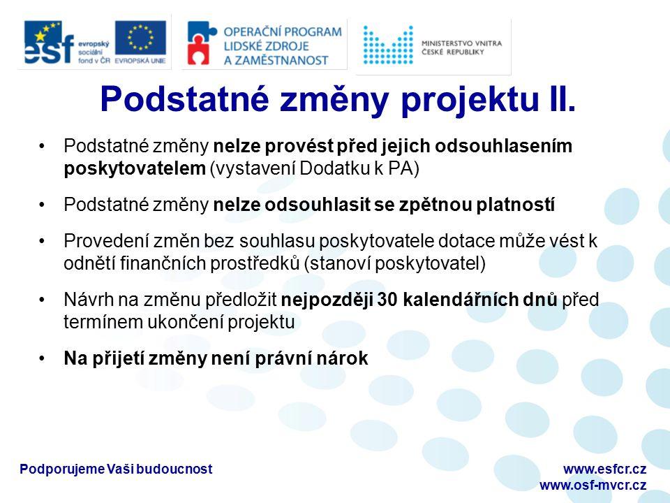 Finanční část Ing. Věra Galuszková www.esfcr.cz www.osf-mvcr.cz Podporujeme Vaši budoucnost