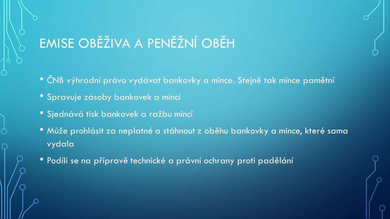 DEVIZOVÁ ČINNOST Vyhlašuje kurz české měny k ostatním měnám Nakládá s devizovými rezervami ve zlatě a devizových hodnotách Obchoduje se zlatem ČNB je oprávněna provádět platební styk se zahraničím Provádí devizové intervence, kterými se snaží ovlivnit výši kurzu Koruny vůči ostatním měnám