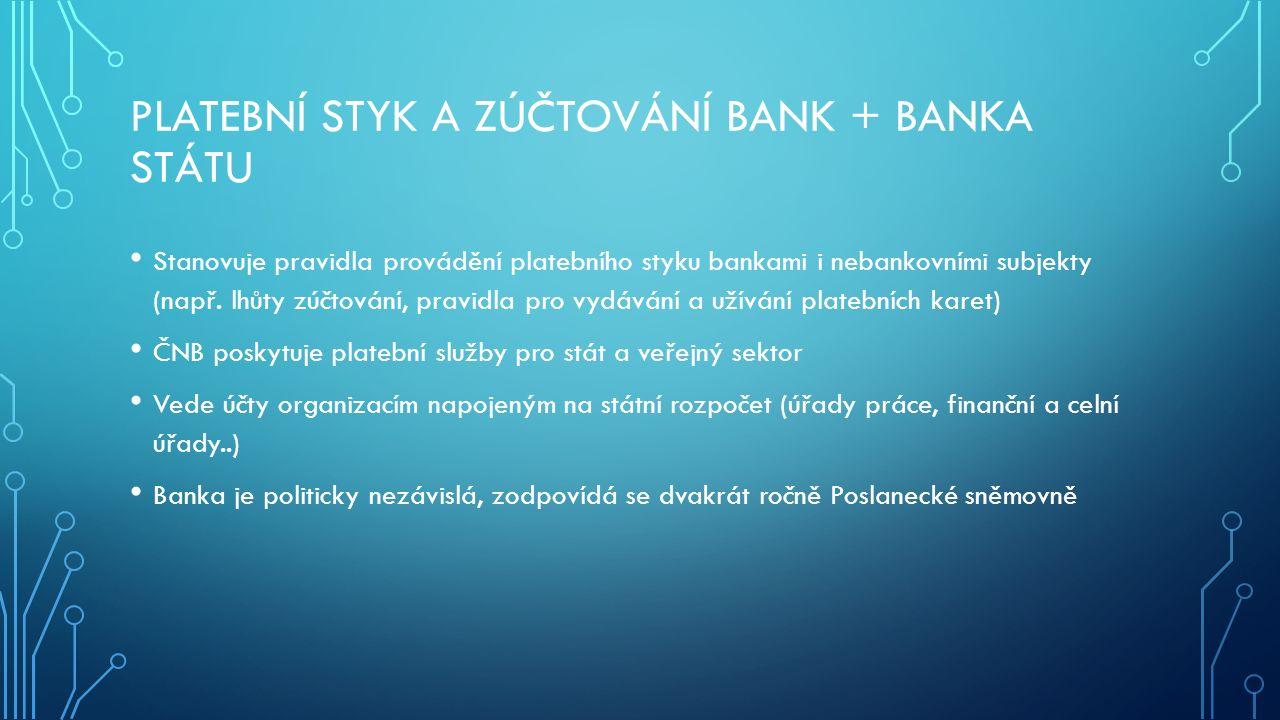 PLATEBNÍ STYK A ZÚČTOVÁNÍ BANK + BANKA STÁTU Stanovuje pravidla provádění platebního styku bankami i nebankovními subjekty (např. lhůty zúčtování, pra