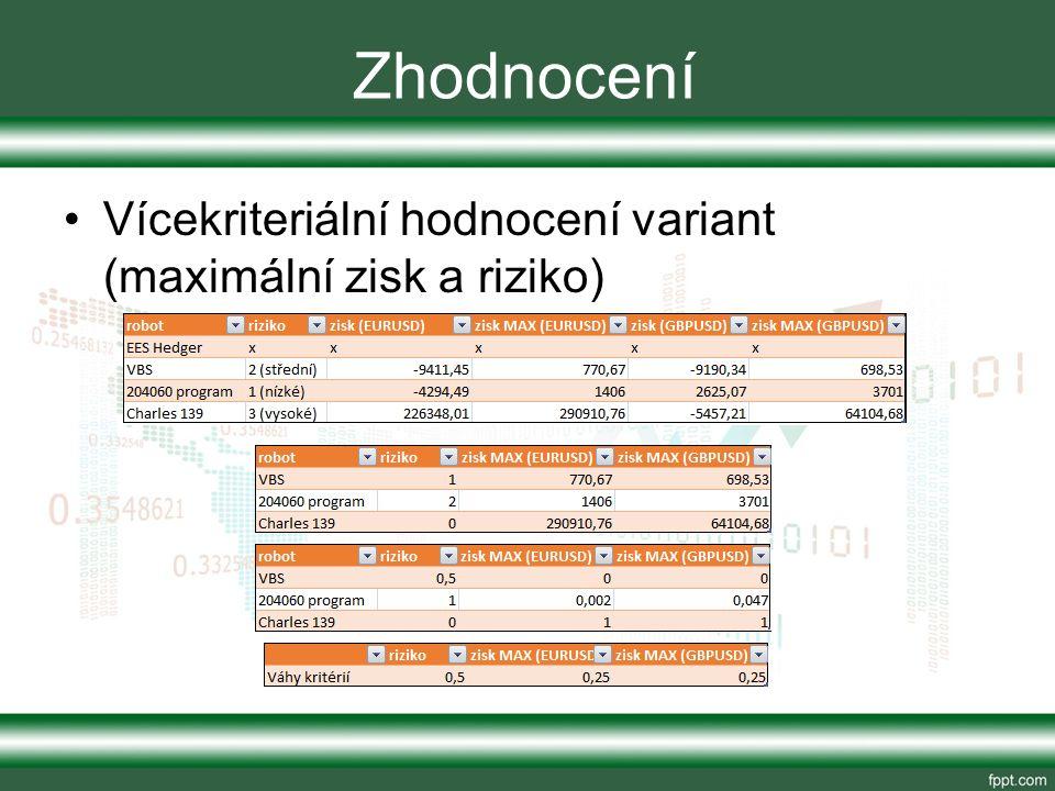 Zhodnocení Vícekriteriální hodnocení variant (maximální zisk a riziko)