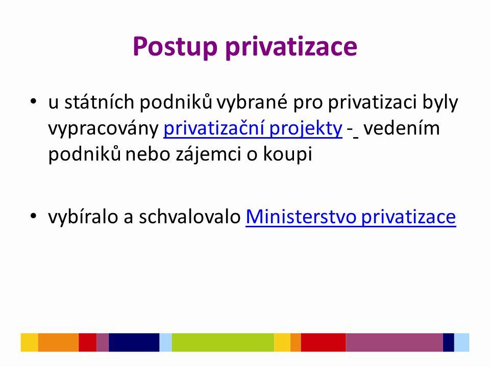Postup privatizace u státních podniků vybrané pro privatizaci byly vypracovány privatizační projekty - vedením podniků nebo zájemci o koupiprivatizačn