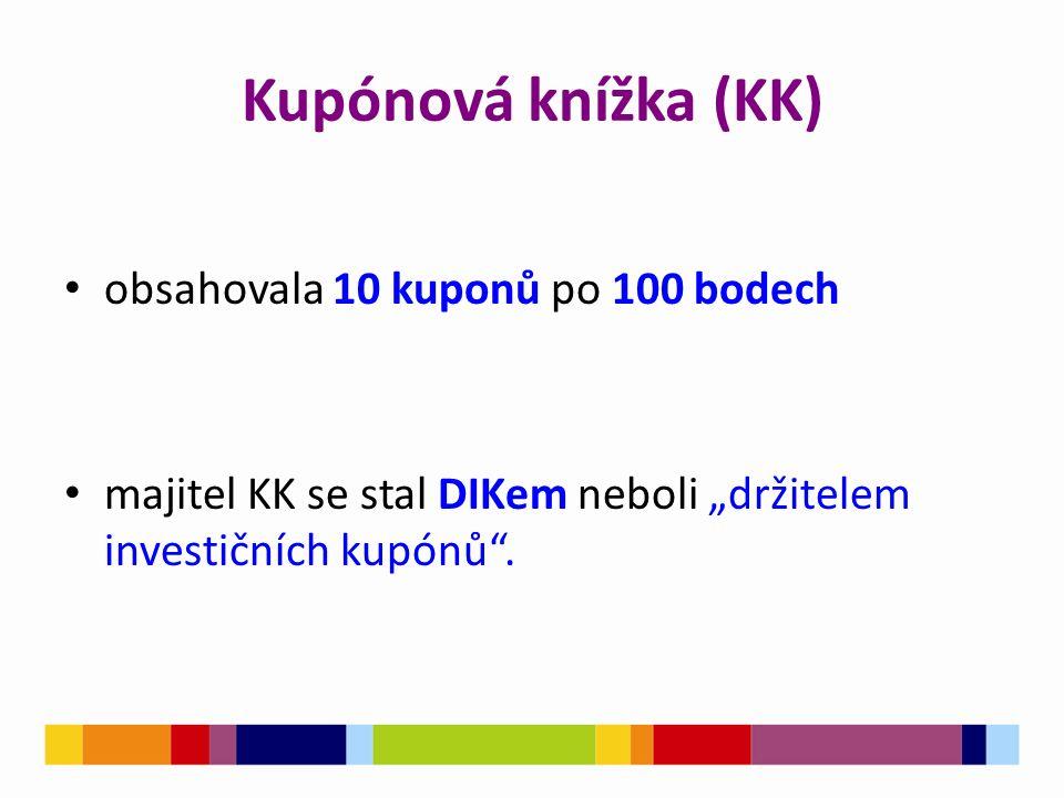 """Kupónová knížka (KK) obsahovala 10 kuponů po 100 bodech majitel KK se stal DIKem neboli """"držitelem investičních kupónů ."""