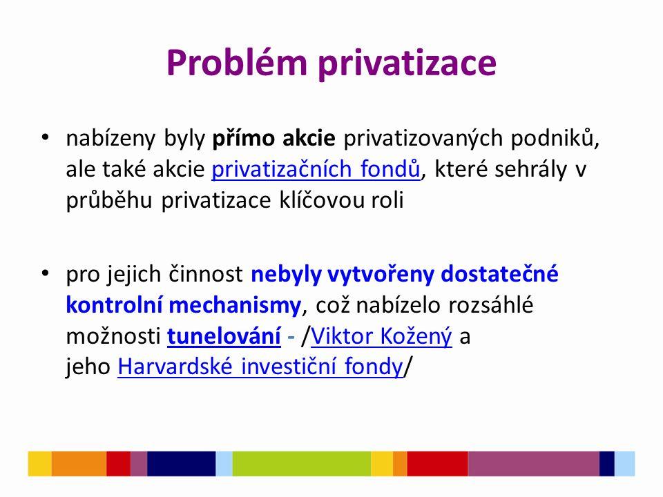 Problém privatizace nabízeny byly přímo akcie privatizovaných podniků, ale také akcie privatizačních fondů, které sehrály v průběhu privatizace klíčovou roliprivatizačních fondů pro jejich činnost nebyly vytvořeny dostatečné kontrolní mechanismy, což nabízelo rozsáhlé možnosti tunelování - /Viktor Kožený a jeho Harvardské investiční fondy/tunelováníViktor KoženýHarvardské investiční fondy