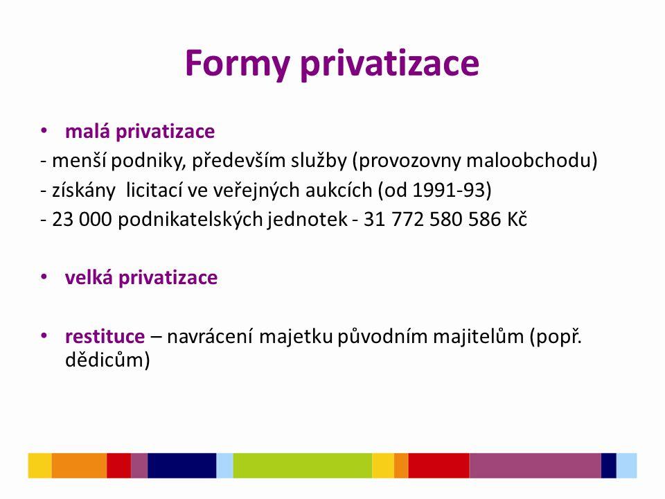 Formy privatizace malá privatizace - menší podniky, především služby (provozovny maloobchodu) - získány licitací ve veřejných aukcích (od 1991-93) - 2