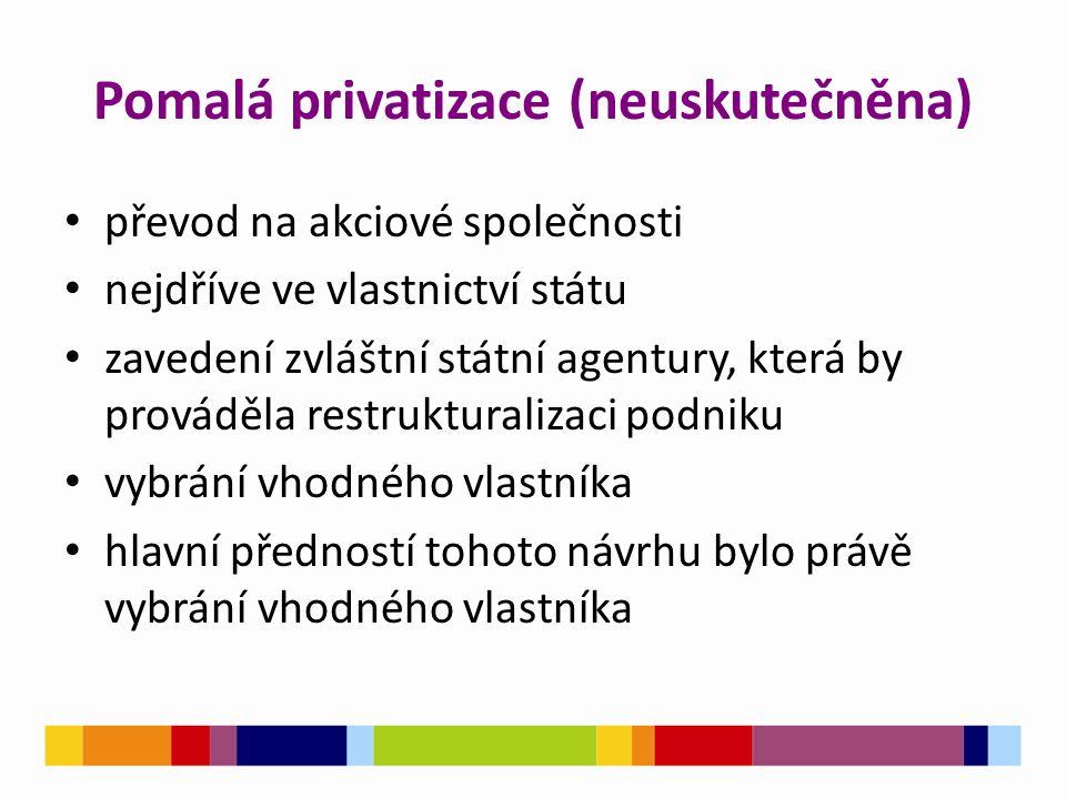 Pomalá privatizace (neuskutečněna) převod na akciové společnosti nejdříve ve vlastnictví státu zavedení zvláštní státní agentury, která by prováděla r