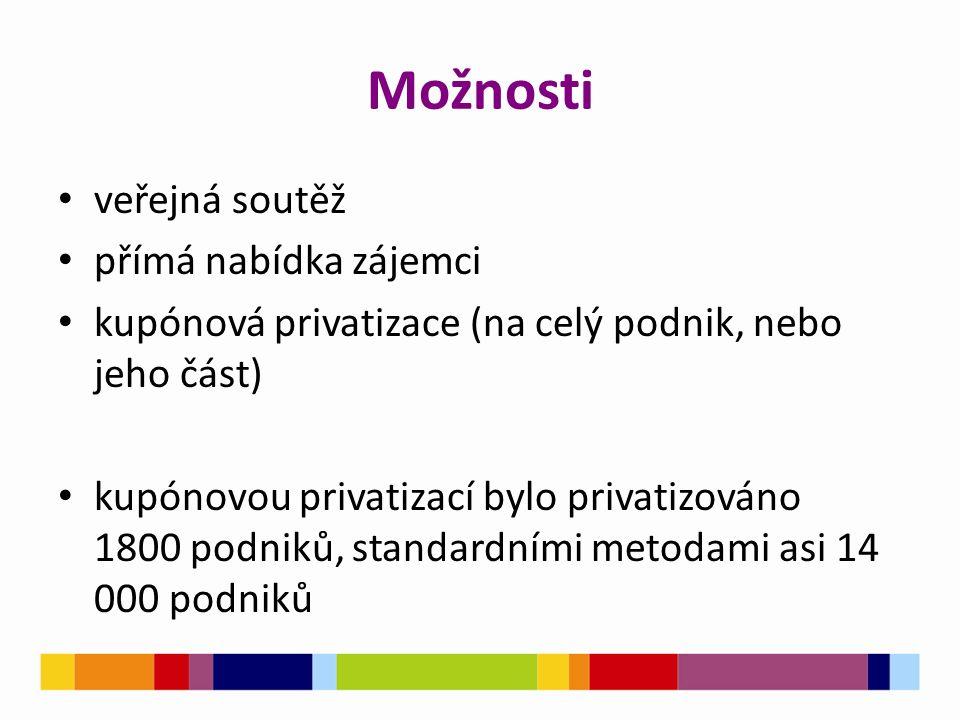 Možnosti veřejná soutěž přímá nabídka zájemci kupónová privatizace (na celý podnik, nebo jeho část) kupónovou privatizací bylo privatizováno 1800 podniků, standardními metodami asi 14 000 podniků